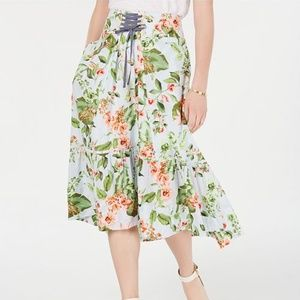 Tommy Hilfiger Floral Lace Up Skirt